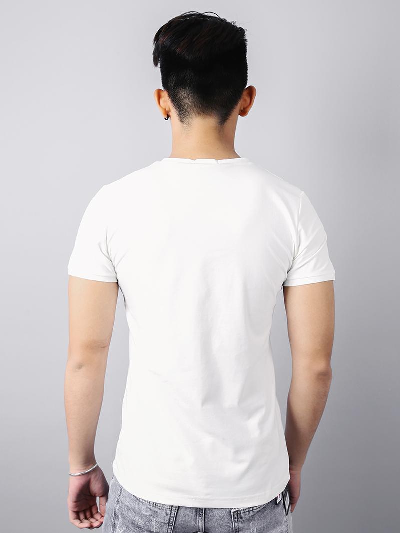 Áo thun cổ tim trắng kem at715 - 2