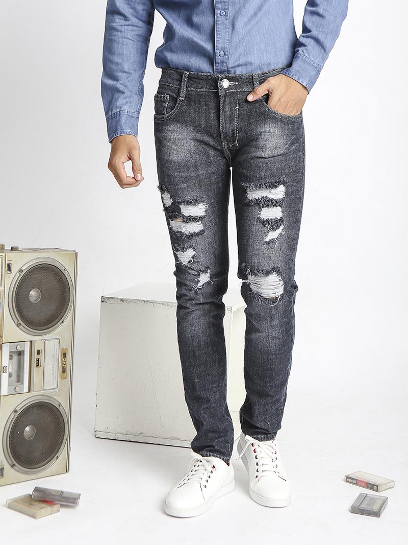 Quần Jeans Rách Đen QJ1522