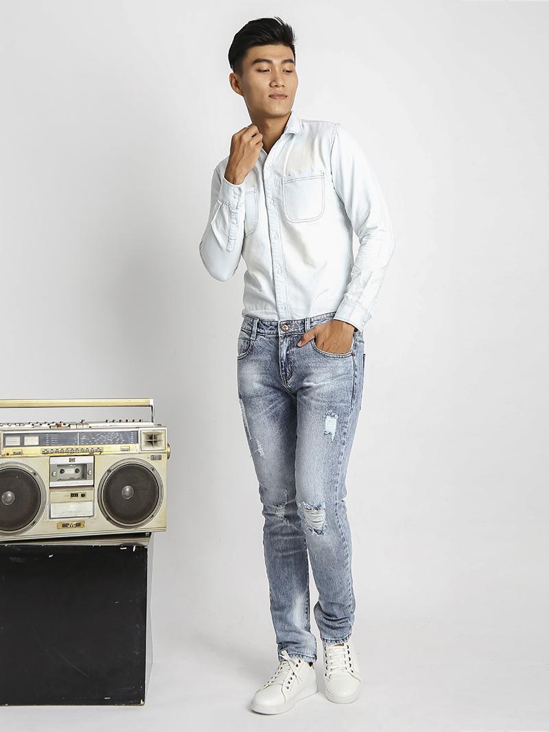 Quần Jeans Skinny Rách Xanh QJ1530