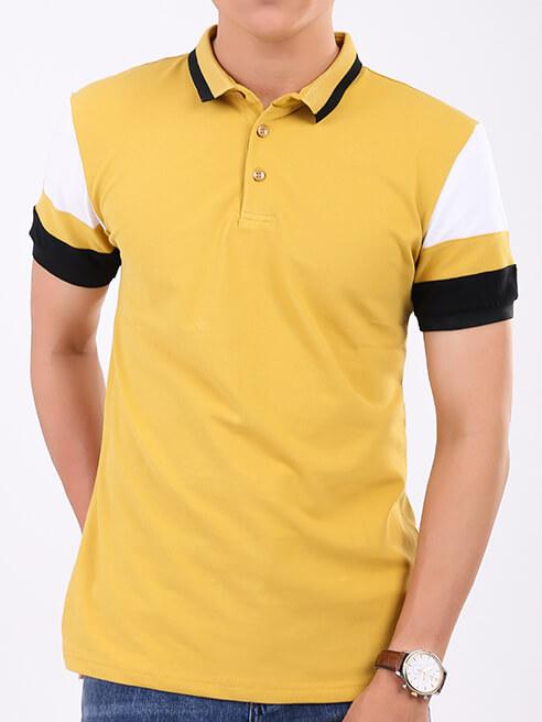 Áo Thun Polo Tay Bo Phối Màu Vàng AT849