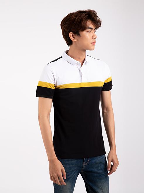 Áo Thun Polo Tay Bo Rã phối Màu Đen AT856