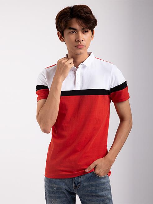 Áo Thun Polo Tay Bo Rã phối AT856 Màu Đỏ
