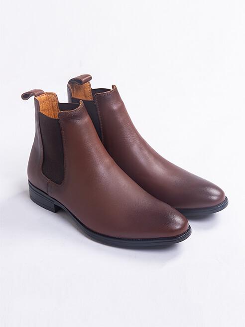 Giày Chelsea Boot Da Trơn Màu Nâu G218