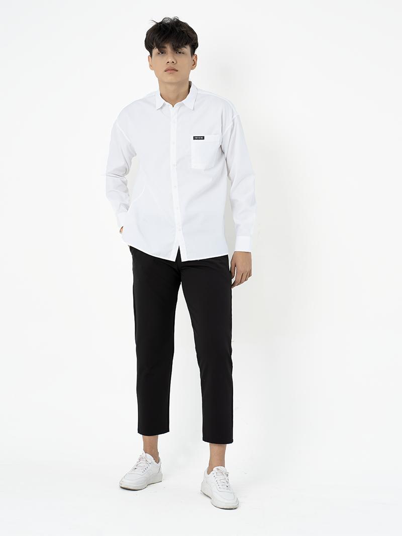 Áo Sơ Mi Túi Đắp Xẻ Tà ASM002 Màu trắng