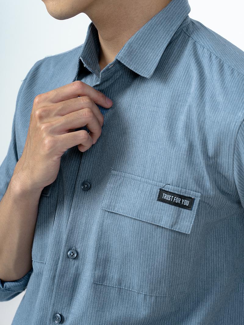 Áo Sơ Mi Kẻ Sọc Túi Đắp ASM010 Màu Xanh
