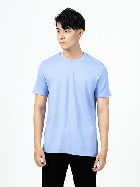 Áo Thun Cổ Bo Form Regular AT015 Màu Xanh