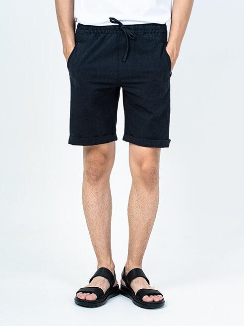 Quần Short Linen Lưng Thun QS004 Màu Đen