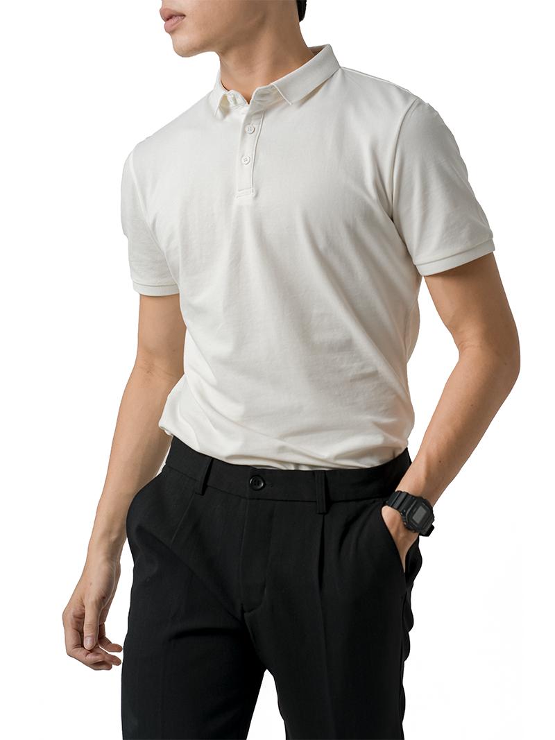 Áo Thun Polo Tay Bo AT855 Màu Trắng