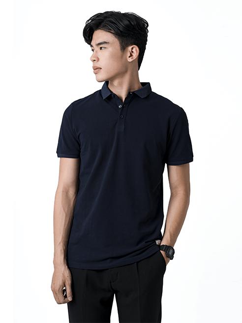 Áo Thun Polo Tay Bo AT855 Màu Xanh Đen