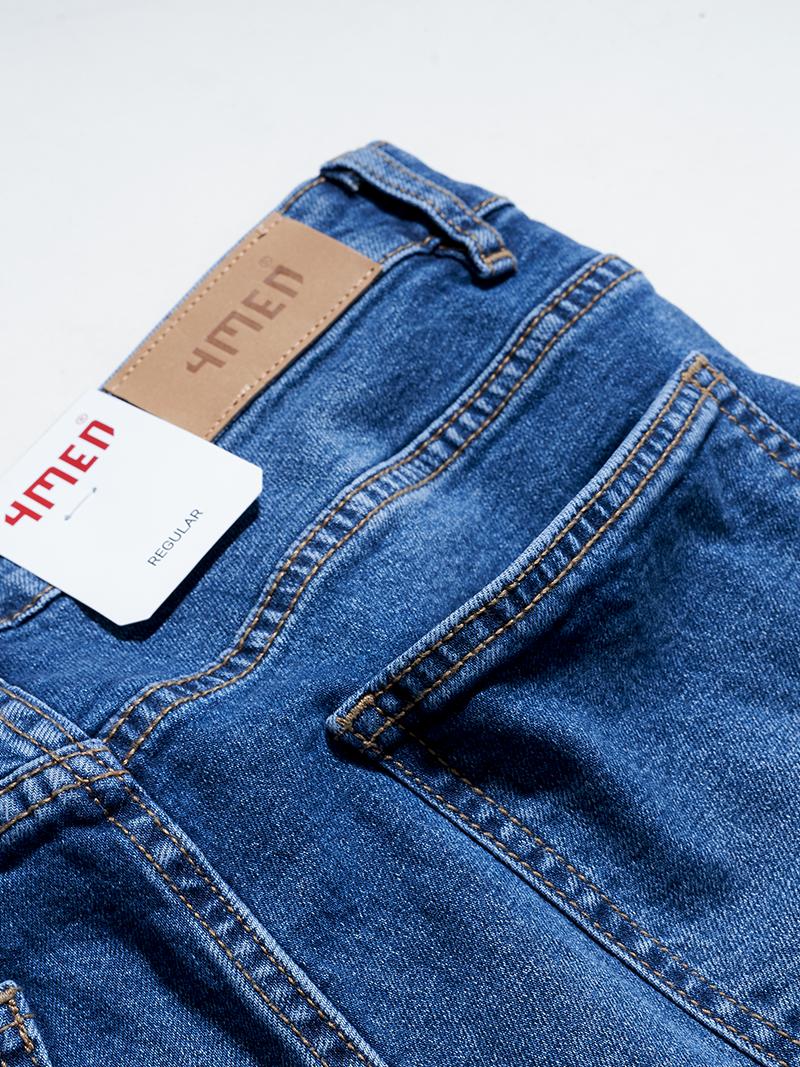 Quần Jeans Trơn Form Regular QJ020 Màu Xanh Biển