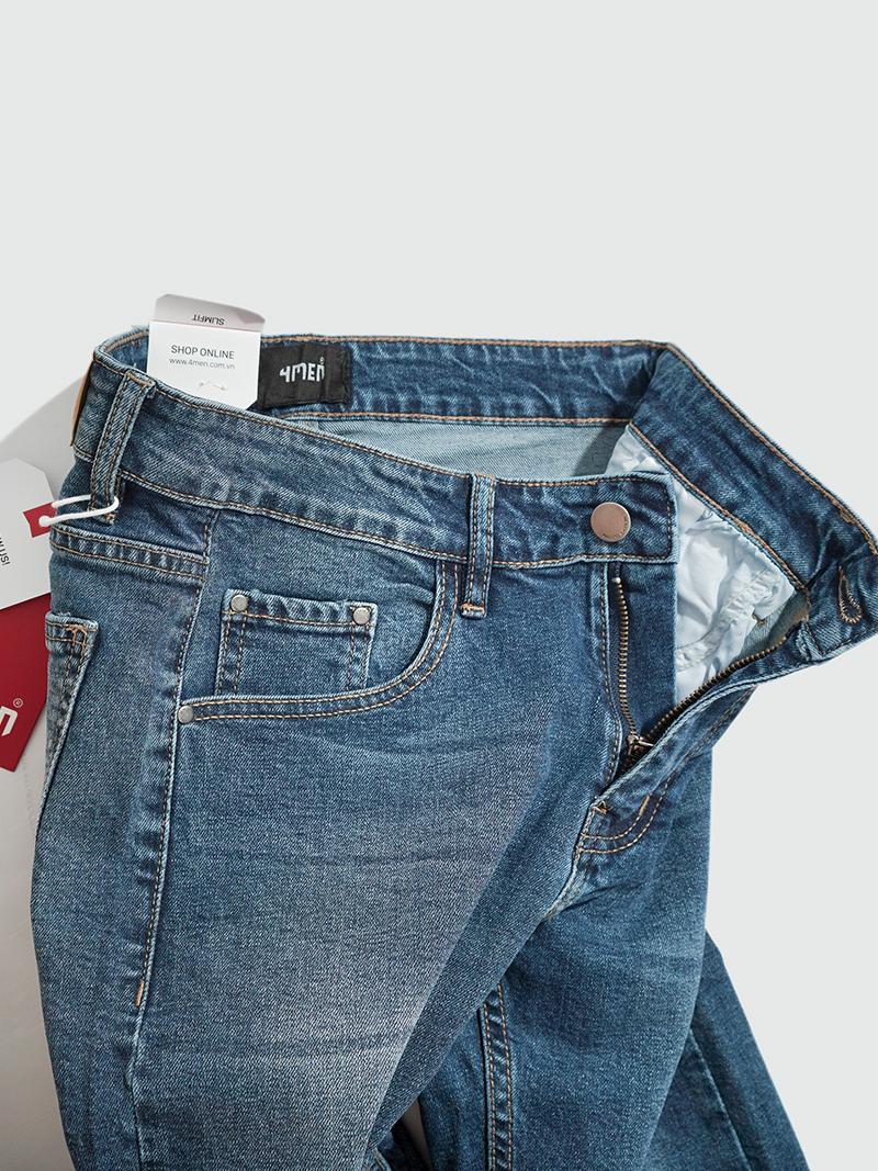 Quần Jeans Trơn Form Slimfit QJ014 Màu Xanh
