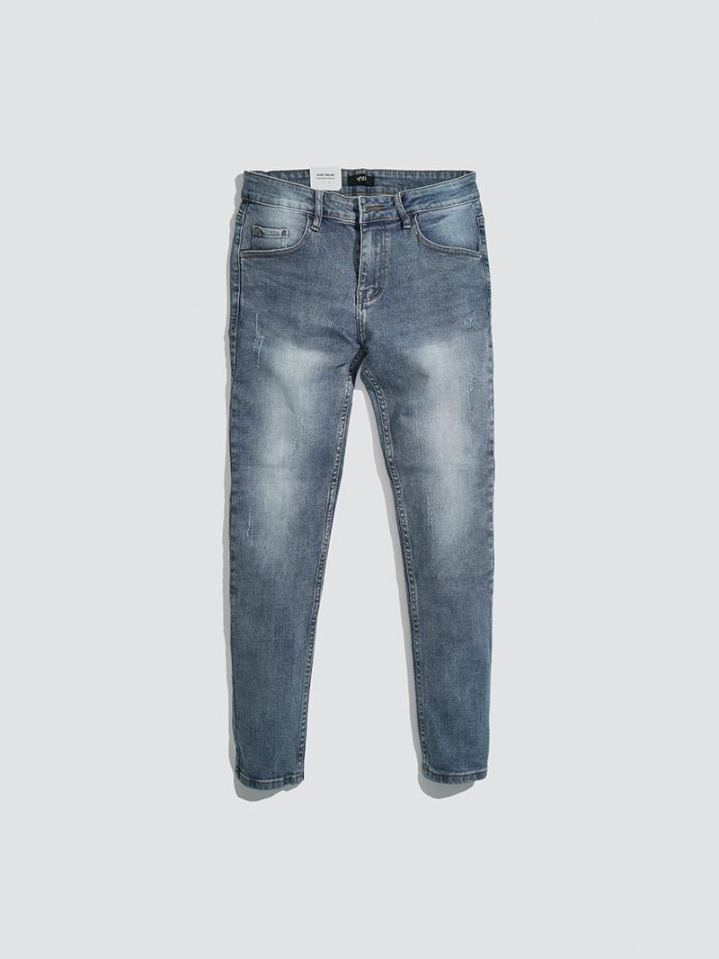 Quần Jeans Xước Form Slimfit QJ010 Màu Xanh