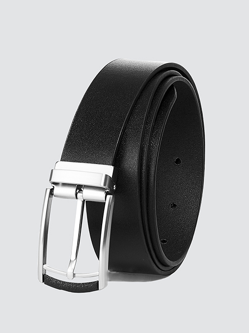 Thắt lưng đầu kim da trơn màu đen TL060